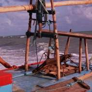 A Jangada's espeque - a vertical frame that rises from the deck.