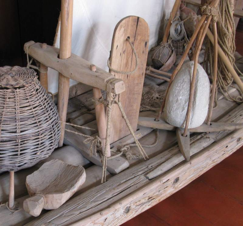 The dagger board of a raft jangada.