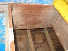 Looking down into the open hatch.