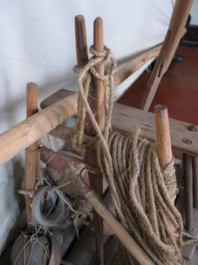The forquilha on a raft jangada.