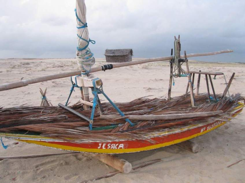 A jangada named Jessica on the beach with its deck covered with palm fronds to protect the wood from the hot sun.