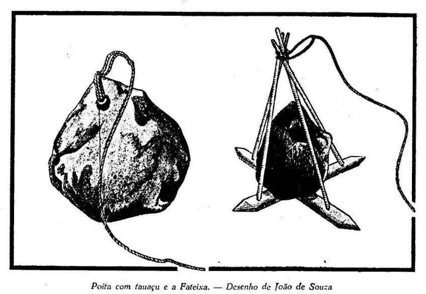 Drawing of a jangada's stone anchor.