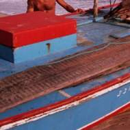 A jangada's Bolina (dagger board) lying on the deck.