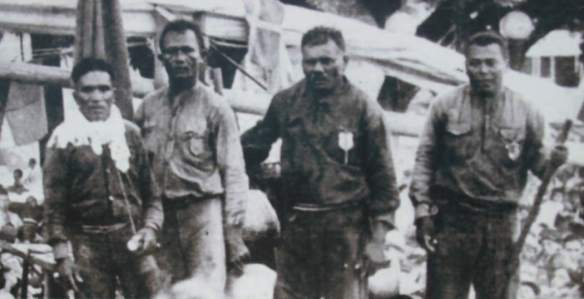 Photograph of jangadeiros on arrival in Rio de Janeiro in 1941