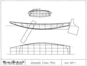 A sketch showing the lines of a jangada's hull.