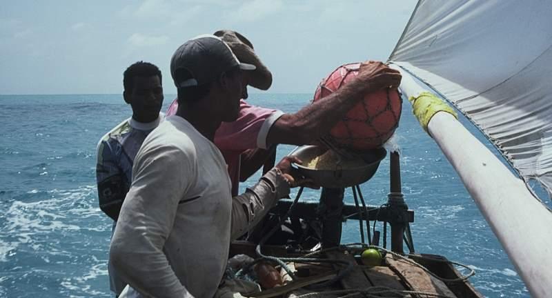 Making fish stew on a sailing jangada.