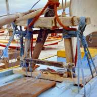 A jangada's banco da vela, hold the mast. This picture is taken from the bow looking aft.