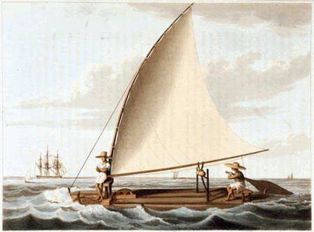 A painting of a raft jangada with two jangadeiros sailing.