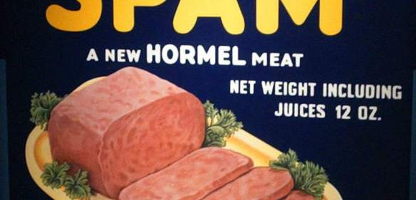 A picture of a SPAM label.