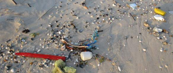Picture of plastic trash washed up on the beach