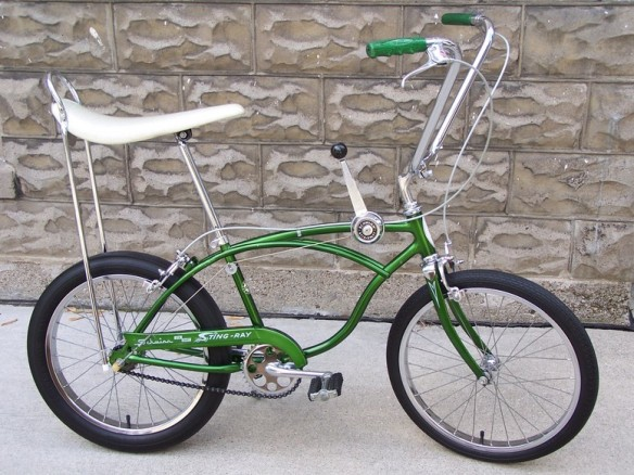 A campus green Schwinn Stingray bike