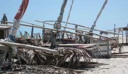 Several jangadas on the beach, their decks covered with palm fronds to protect against the hot sun.
